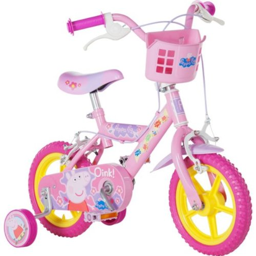 """Official Peppa Pig Childrens Kids 12"""" Bicycle Stabilisers Puncture Proof Bike"""