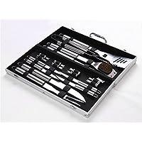 Meao 18 pezzi in acciaio inox Barbecue Set con Custodia in Alluminio #1 - Professionale (Cucina All'aperto Bbq Accessori Grill)