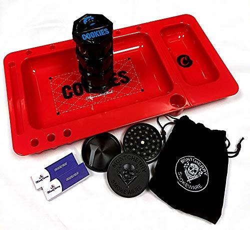 Cookies Ernte Club rot Rolling Tablett und Cookies Mini Air Tight schwarz stapelbar Aufbewahrung 3Stück Gläser Combo mit 3D-Lesezeichen von Trendz