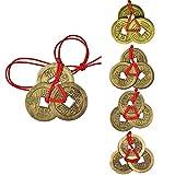 Juego de 12 Monedas Feng Shui Combinadas con Nudo Chino Monedas de Suerte para Decoraci/ón de Coche o Adornos Colgantes de Suerte de A/ño Nuevo