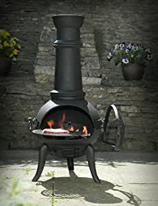 BLACK CAST IRON/STEEL MIX 105CM CHIMENEA CHIMINEA WITH SWING OUT GRILL FOR BBQ