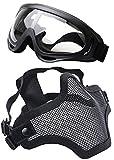 Coofit Maschera Mexxi Outdoor Maschera 2 in Acciaio con Rete di Protezione e Occhiali (Nero)