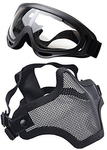 Coofit Masque Airsoft paintball 2 PCS Demi Masque Outdoor maille inox et lunettes de protection Masque métal extérieure (Noir 1, One size)