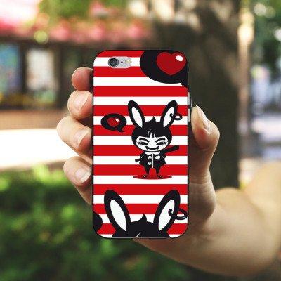 Apple iPhone X Silikon Hülle Case Schutzhülle Hase Bunny Streifen Silikon Case schwarz / weiß