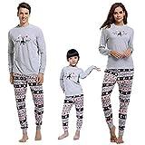 Aibrou Kinder Schlafanzug Pyjama Set Lang Nachthemd Nachtwäsche Hausanzug mit Davidshirsch Grau S