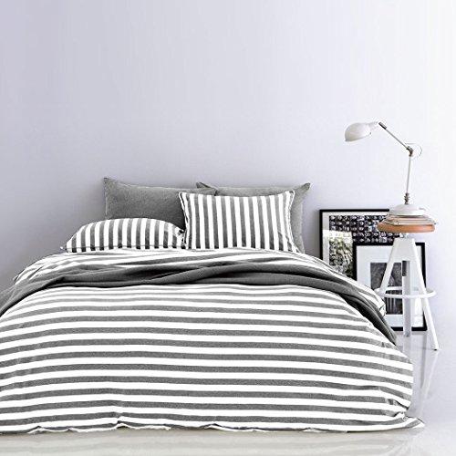 Bettwaren-Shop Melange Streifen Bettwäsche grau-weiss 155x220 cm + 80x80 cm