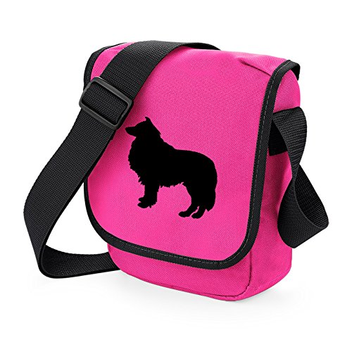 Bag Pixie - Borsa a tracolla unisex adulti Black Dog on Pink