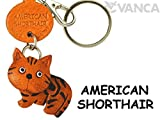 [Handmade made in Japan, new, craftsman] American Shorthair this leather key chain anywhere demo cat [VANCA] (japan impo