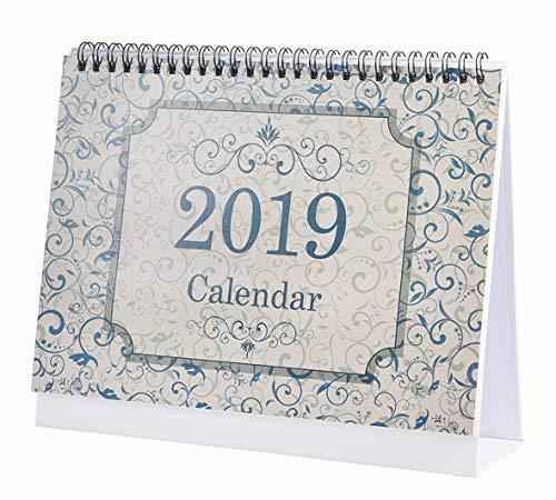 Flip Calendario mensile da gennaio 2019 a dicembre 2019 con supporto, rilegatura a doppio filo 9.25'X 7.85', pianificatori mensili per ufficio, scuola, famiglia