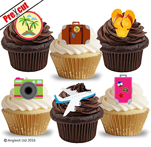 vorgeschnittenen Travel Zubehör essbarem Reispapier/Waffel Papier Cupcake Kuchen Topper Sommer Strand Party Dekorationen