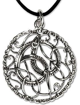 Anhänger Keltische Schlange 925er Silber Schmuck – Für positive Kraft – mit Lederhalsband Schmucksäckchen und...