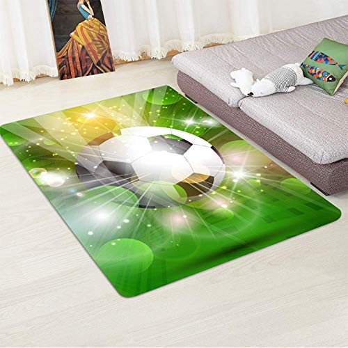 (AWLLY Wohndesign Teppich Flanell Fußball-Muster Spielblock für Kinder Teppich kriechende Matte Zimmer Dekoration)