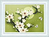 Anself DIY Handmade Needlework Cross Stitch Set Embroidery Kit 3D Precise Printed Magnolia Flower Butterfly Design Cross-Stitching 46.5 * 35cm Home Decoration
