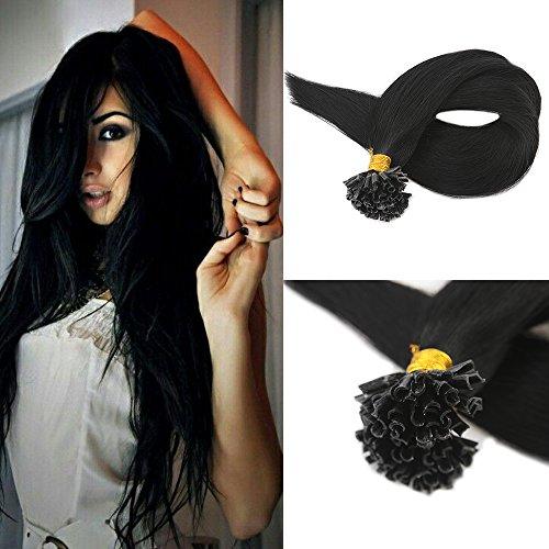 Full Shine 16 Pouces/40cm 1g/mèche Total 50g Jet Noir Extensions en Cheveux Naturels Ongle/Onglet Pointe U en Kératine Pose à Chaud - Pre bonded Nail Tip/U-tip Remy Hair Extensions