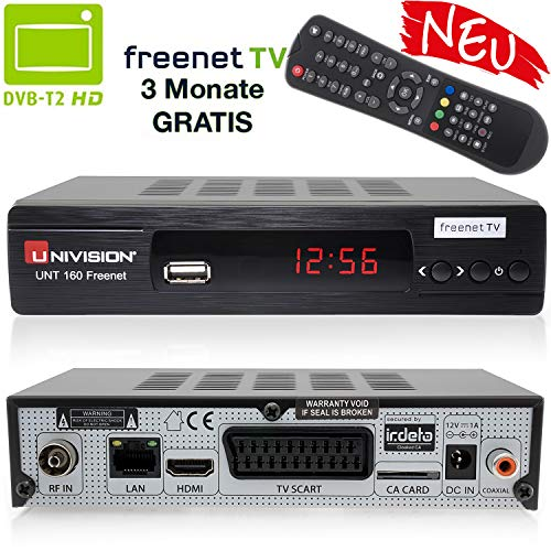 Univision UNT160 digitaler DVB-T2 Receiver inkl. 3 Monate Freenet TV (H.265, HDMI, SCART, USB, LAN) in schwarz