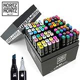 Moritz & Moritz 80er Set Twin-Marker Duo-Fasermaler - Weiche & Intensive Farben zum Skizzieren Layouten Illustrieren Zeichnen Malen