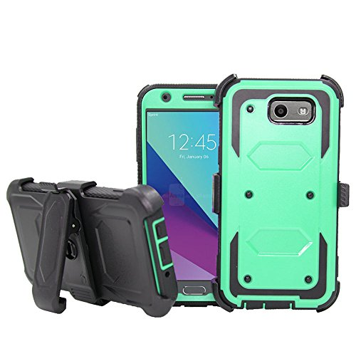 Galaxy J7V 2017Fall, Galaxy J7perx Fall, Galaxy J7Sky Pro Fall, telegaming Heavy Duty Armor Case mit Displayschutzfolie + drehbarem Gürtelclip Holster Cover für Samsung Galaxy J72017, Blaugrün - Swivel Holster Lcd
