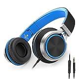 Ailihen C8 Auriculares de Diadema Cerrados con Cable, Auriculares Plegable con Micrófono y Control Remoto para Mp3, iPhone, Móvil Android, PC, Color Negro y Azul