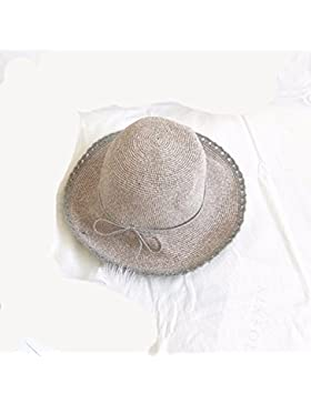 LVLIDAN Sombrero para el sol del verano Dama SolAnti-sol Fishermanstrawhat rosa plegable