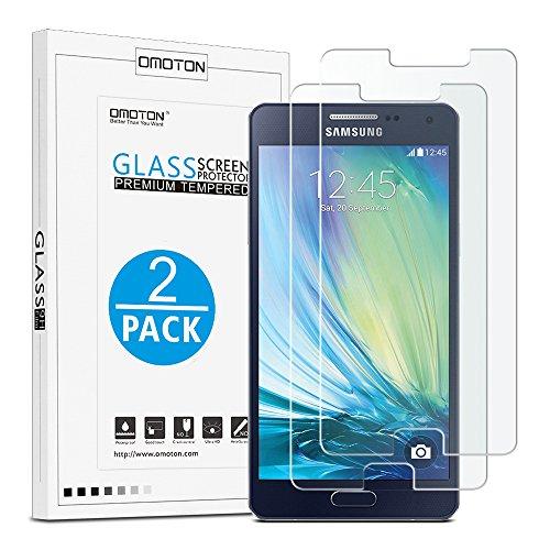 [2 Stück]OMOTON Panzerglas schutzfolie für Samsung Galaxy A5 [2015] mit [2.5D abgerundete Kanten ] [9H Härte] [Kristall-klar [kratzfest] [Luftbläschen-frei]
