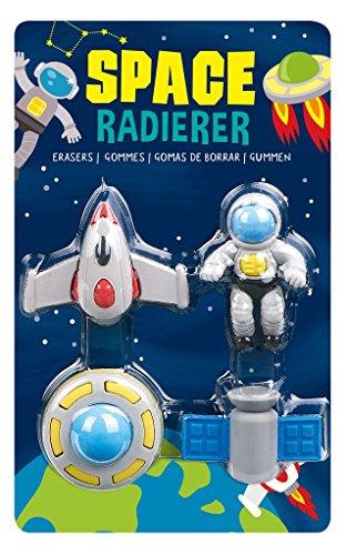Weltraum Radiergummi, Space Radierer, 4-teilig, Moses, Mitgebsel Weltallparty