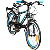 Galano 20 Zoll MTB Jugendfahrrad Adrenalin Kinderfahrrad Mountainbike, Farbe:Schwarz/Blau
