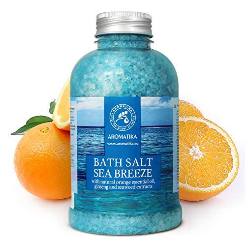 Badesalz Meeresbrise 600g - Natürlichem Ätherischen Orangenöl Und Extrakten Aus Ginseng und Algen - für Guten Schlaf - Baden - Körperpflege - Wellness - Schönheit - Entspannung - Aromatherapie - Spa