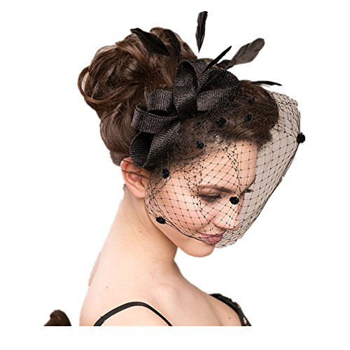 Schleier Clip Haar ,Minihut Fascinator Haarschmuck mit Schleier für Kostüm Karneval Fasching oder Burlesque (Schwarz)