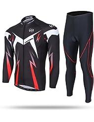 XINTOWN hommes à séchage rapide à manches longues respirant vélo équitation Vêtements Set Avec coussin rembourré 3D pour le cyclisme Rouge Noir Blanc 6 Taille,XL