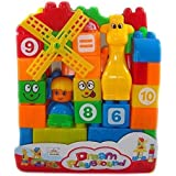 Building Blocks Play Learn Set,Learning Blocks For Kids With Cartoon Figures, Bag Packing, Best Gift Toy, Multi Color (Set Of 35 PCs)