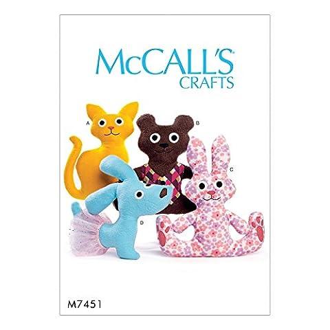McCalls Crafts Patron de Couture Facile 7451–Animal en peluche Jouets pour chien, ours, lapin et chat