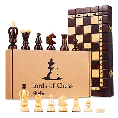 Amazinggirl Schachspiel Schach Holz Schachbrett - Chess Set für Kinder hochwertig groß klappbar mit Figuren (35X35 cm, Schach mit Dame (2in1))