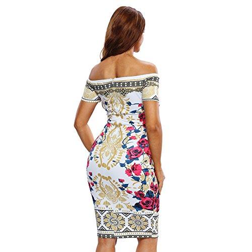 PU&PU Femmes Occasionnels / Sorties / Soirée Vintage Impression Floral Off Shoulder Bodycon Robe manches courtes Backless genou longueur #2