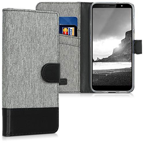 kwmobile HTC U12 Life Hülle - Kunstleder Wallet Case für HTC U12 Life mit Kartenfächern & Stand - Grau Schwarz