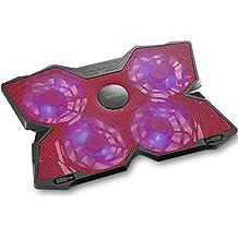 Sistema di Raffreddamento, iKross Appoggia Supporto Cooling Pad per PC Portatili/Laptop/Notebook fino a 17 pollici con 140mm Ventole a 1200RPM- Nero/Rosso