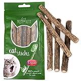 5x Katzenminze Sticks für Katzen von PrettyKitty I Zahnpflege Kausticks aus echtem Matatabi Holz helfen spielerisch bei Mundgeruch & Zahnstein I Katzenspielzeug mit Katzenminze im 5er Set