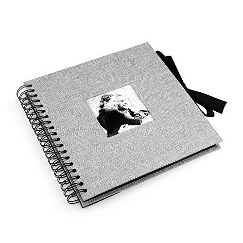 VEESUN Fotoalbum zum Selbstgestalten, 28cmx27cm Album Schwarze Seiten Scrapbook zum Einkleben, Leinen Fotobuch DIY Hochzeit Gästebuch, Geburtstag Jahrestag Geschenk Frauen Männer, Grau, MEHRWEG -