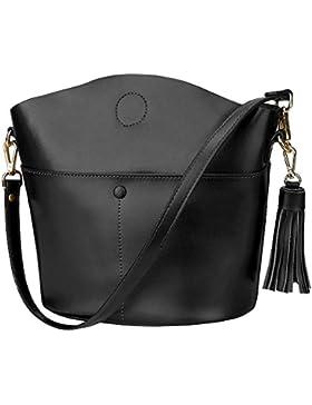 S-ZONE Frauen Rindsleder Echtes Leder Kleine Handtasche Handtasche Crossbody Umh?ngetasche