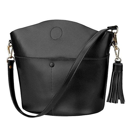 S-ZONE Sacchetto di spalla del Crossbody del sacchetto della borsa della borsa della borsa della pelle bovina delle donne di (viola) Nero