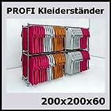 200x200x60 PROFI KLEIDERSTÄNDER BEKLEIDUNGSSTÄNDER GARDEROBE FREISTEHEND-W200W
