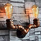 Water Pipe Wall Sconce, SUN RUN Metal 2-Head W Shape Vintage Industrial Wall Light Fixture with Retro Style for Bar, Kitchen, Living Room, Bedroom,E26 Socket Lamp
