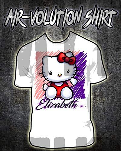 Mythic Airbrush Personalisierte Airbrush Kitty Hemd Kinder- / Erwachsen-Größen Weiß -