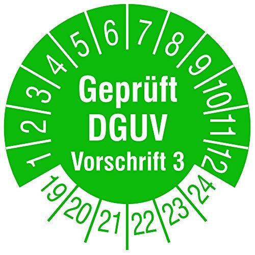 TE-Office 500 Stück DGUV 3 Prüfplaketten Aufkleber 19-24 Geprüft DGUV Vorschrift 3 grün Rolle 1-bahnig 30 mm Durchmesser laminiert abriebfest - 3 Stück Office