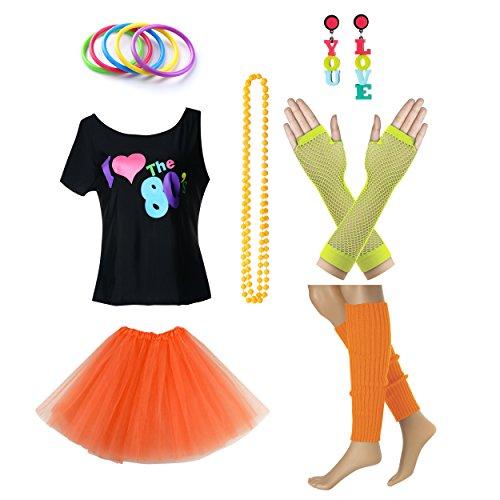Fun Daisy Clothing Damen I Love The 80er Jahre T-Shirt 80er Jahre Outfit Zubehör (Schwangeren-outfit)