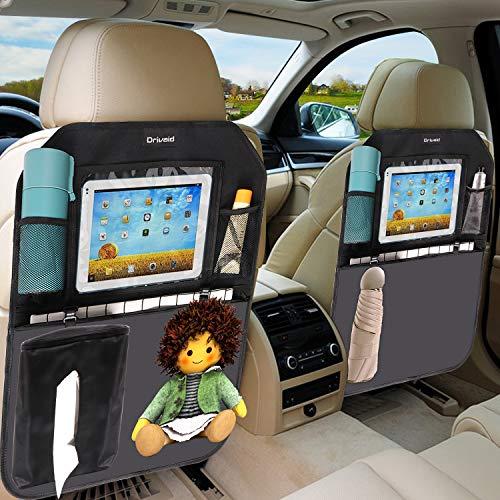 Drivaid 2 Stück Rückenlehnenschutz Auto, mit Großer Tasche und Tablet-/iPad-Fach, Rückenlehnenschutz Auto Kinder mit Tissue-Box, Wasserdichtes Spezialmaterial Kick-Matten-Schutz in universeller Auto