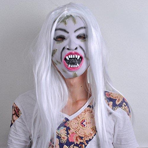 WKAIJCA Halloween Ganze Person Horror Maske Beängstigend Zombie Grimasse Weißes Haar Hexe Kopfbedeckung Faules (Beängstigend Hexe Maske)