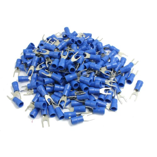 200 Stück AWG 16-14 Blau Pre Isolierte Gabel-Kabelschuh-Verbinder
