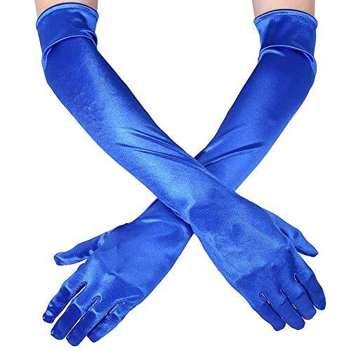 Handgelenk Länge Brauthandschuhe (Ksnrang Damen Lange Handschuhe Satin Classic Opera Fest Party Hochzeit Braut Handschuhe 1920er Stil Handschuhe Elastisch Erwachsene Größe bis Handgelenk Länge (52cm-Blau))