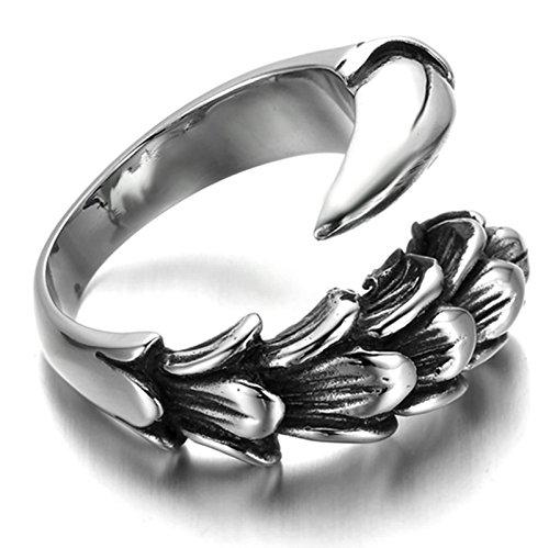 Adisaer Ring Edelstahl Herren Punk Ringe Silber Adler Klaue Tier Ring Größe 71 (22.6) für Männer Gothic Bandring Hip Hop (Männer, Für Crown Hip-hop-ringe)