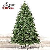 Bakaji Christmas Albero di Natale Super Folto Pino Verde Base a Croce in Ferro Pieghevole (210cm)